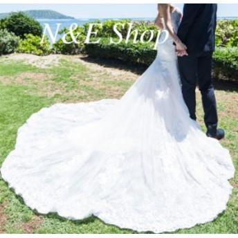 ウェディングドレス マーメイド レース フラワー ビスチェ 刺繍レース ヌードレース ハートカット ブライダル 結婚式 前撮り