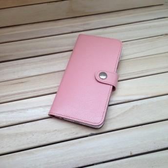 iPhone, Xperia 本革 手帳型ケース「カード3枚収納」【ピンク】