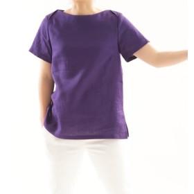 【wafu】薄地 リネンブラウス ボートネック Tシャツ チュニック 半袖 / オーベルジーヌ t003d-obj1