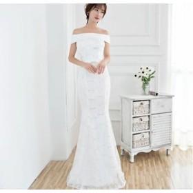 1484. オフショルダーマーメイドドレス(ホワイト)結婚式 イブニングドレス 演奏会 パーティドレス お呼ばれ 大きいサイズ 2019 夏秋