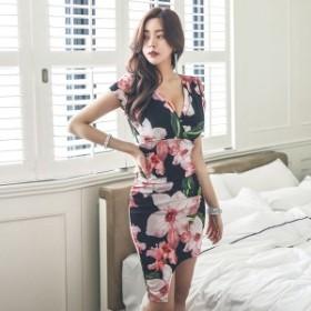 花柄 エレガント 美ライン ミニワンピース 韓国ファッション オルチャン パーティードレス ドレスワンピース 結婚式 二次会