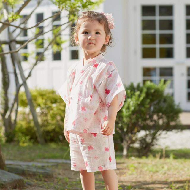 ミキハウス 二重織ガーゼ お花柄うさこ甚平スーツ ピンク