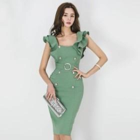 フリル タイト ワンピース 袖フリル 袖コンシャス 通勤 韓国ファッション オルチャンファッション ひざ丈 上品 きれいめ