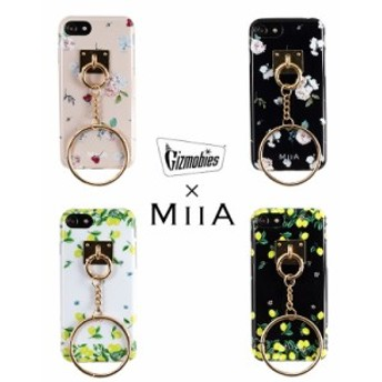 【iPhone8/7対応 背面ケース】MIIA(ミーア) リング付き アイフォンケース BOTANICALFLOWER・LEMON