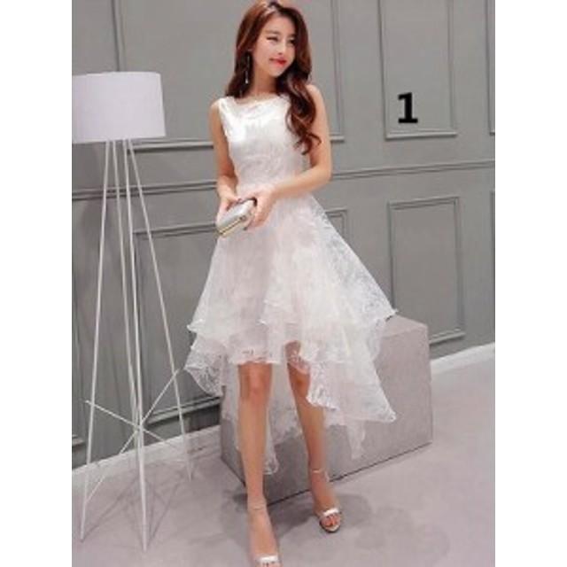 レディース ワンピース 花柄 ノスリーブ 透け感 アシンメトリー 韓国ファッション