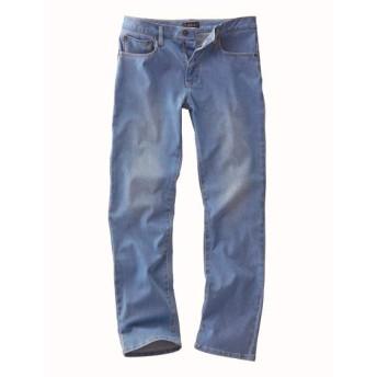 メガストレッチ5ポケットニットデニムパンツ(股下70cm) ストレートジーンズ(デニム)