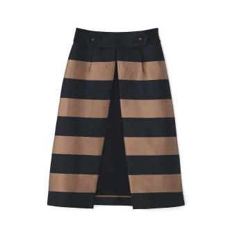 【55%OFF】 アドーア シャンタンボーダーアンダースカート付きスカート レディース ネイビー×キャメル 36 【ADORE】 【タイムセール開催中】