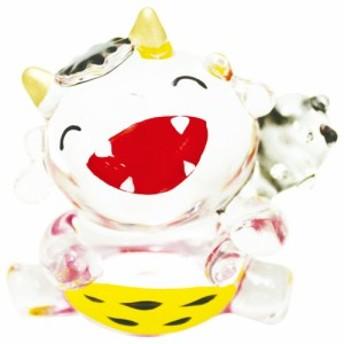 「(大)クリスタル鬼 座・口あけ」ガラス細工 夏の風物詩 置物 人形 和みの和雑貨