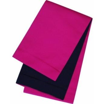半幅帯京都西陣製本袋浴衣帯リバーシブル小袋帯濃ピンク×黒レディース女性用