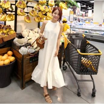 シンプル ホルターネック マキシ丈ワンピース リゾート 韓国ファッション オルチャン ロング丈 マキシ丈 ナチュラル