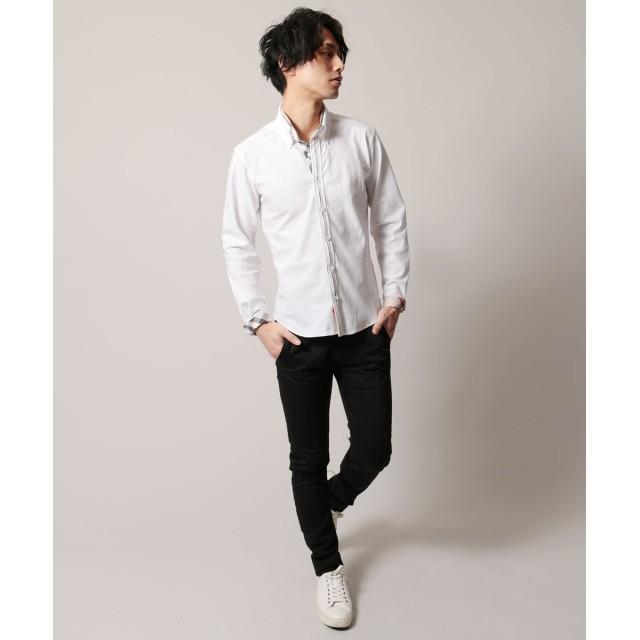 シャツ - SPUTNICKS メンズ シャツ メンズファッション バイアス ジャガード チェック ダブル バイカラー ボタンダウン 長袖シャツ Buyer'sSelect バイヤーズセレクト