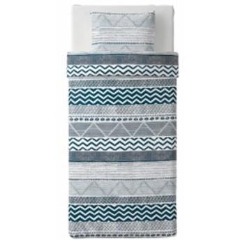 【IKEA イケア】PROVINSROS プロヴィンスロス #50390172 掛け布団カバー&枕カバー ホワイト×ブルー
