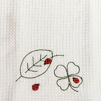 Shinzi Katoh シンジカトウ 【ふきぴか 刺繍タイプ 葉っぱとてんとう虫】(かわいい キッチン 抗菌 防臭 刺繍 キャラクター ワッフル織 北