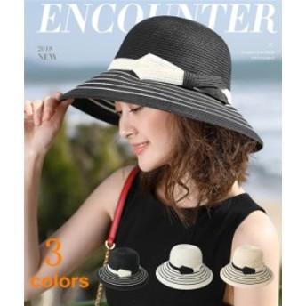 紫外線カット 2018 夏 帽子 ストローハット UV カット レディース 日焼け防止 折りたたみ リボン付き 送料無料 LJ77