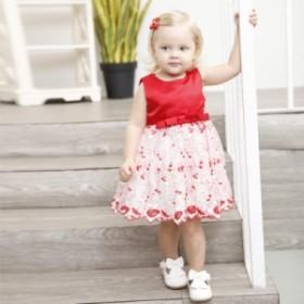 赤色花柄【80-130cm】リボンベビードレス/子どもドレス/キッズ出産祝い/赤ちゃん/結婚式七五三/リボン/フォーマル/ワンピース