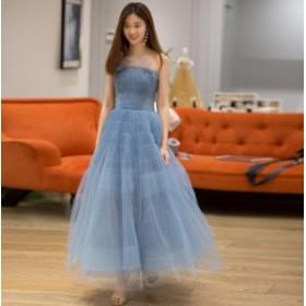 セクシー ウェディングドレス 結婚式 花嫁 二次会 パーティードレス プリンセスAライン ブライダル 素敵 マキシ丈ワンピース