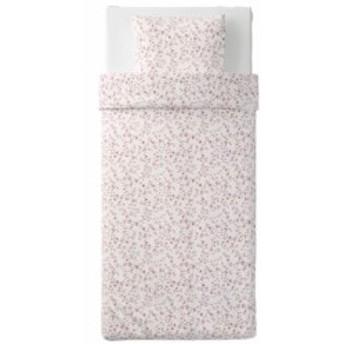 【IKEA イケア】HASSLEKLOCKA ヘッスレークロッカ #20390296 掛け布団カバー&枕カバー ホワイト×ピンク