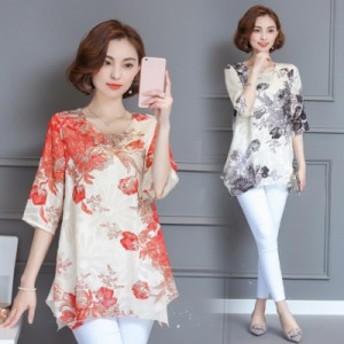 シフォン ブラウス ロング丈 チュニック 花柄 レディース Tシャツ 体型カバー カットソー 大きいサイズ トップス ゆったり 40代50代60代