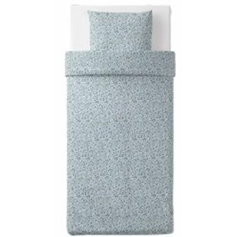 【IKEA イケア】VATTENMYNTA ヴァッテンミンタ #30390248 掛け布団カバー&枕カバー ホワイト×ブルー