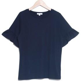 サルース salus フリル袖シンプルTシャツ (T0H(ネイビー))