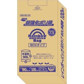 レインボーバッグ BOXタイプ 90L 半透明 (100枚入)