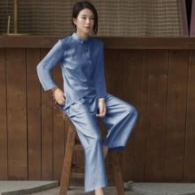 チャイナスタイル風 襟付き ボタン 長袖 ロング トップス+パンツ