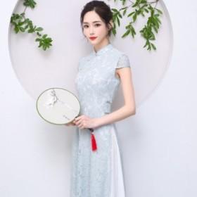 アオザイ ベトナム民族衣装 ワンピース ロングドレス パーティー Ao Dai 二次会 キャバドレス 結婚式 お呼ばれ グレーグリーン 半袖