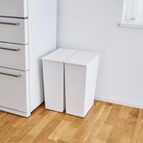I'mD Kcud クード シンプル Slimホワイト | アイムディー ゴミ箱 ダストボックス 日本製 キッチン ふた付き おしゃれ スリム 45Lポリ袋対応