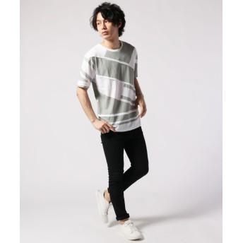 Tシャツ - SPUTNICKS カットソー メンズ ピンタック ジオメトリック 切替 半袖 Tシャツ Buyer's Select バイヤーズセレクト
