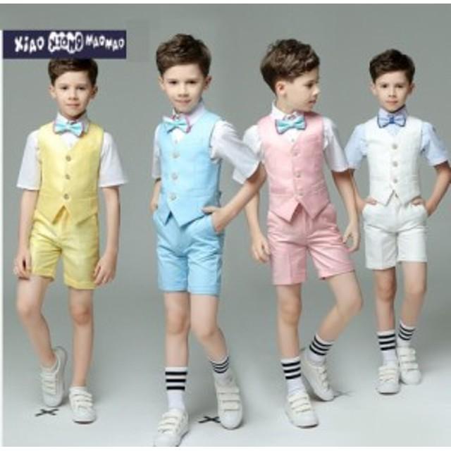 e7ee04f069841 子供スーツ 男の子 キッズ 韓国 スーツ 4点セット フォーマル タキシード カジュアル 子供服 入学・