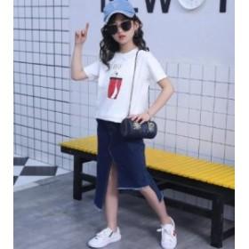 セットアップ 女の子 キッズ Tシャツ+デニムスカート 2点セット カジュアル 子ども 可愛い ジュニア 夏新作