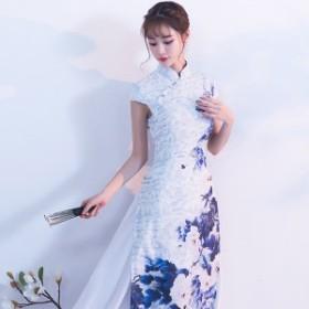 アオザイ ベトナム民族衣装 ワンピース ロングナドレス パーティー Ao Dai 二次会 演奏会 同窓会 キャバドレス 結婚式 お呼ばれ 花柄
