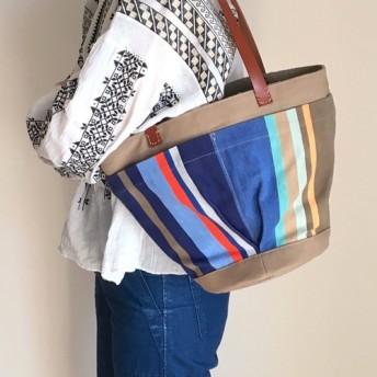 <再販>[受注製作]バケツ型巾着ストライプバッグ(ブルー)