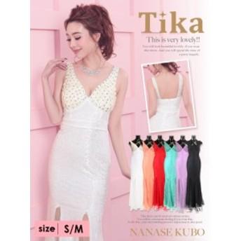 Tika ティカ 贅沢ビジューシースルーマーメードロングドレス ホワイト/ピンク/グリーン/レッド/パープル/ブラック S/M パーティー キャ