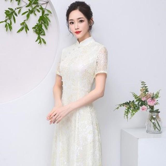 アオザイ ベトナム民族衣装 ワンピース ロングドレス パーティー Ao Dai 二次会 キャバドレス 結婚式 お呼ばれ シャンパン 半袖