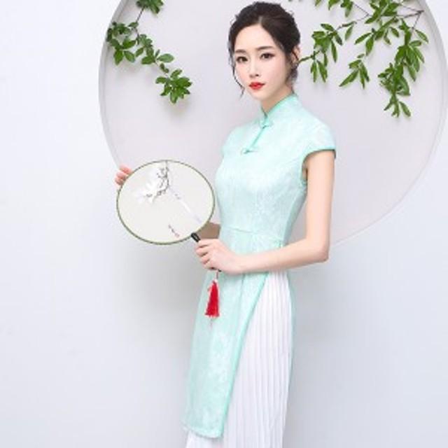 アオザイ ベトナム民族衣装 ワンピース ミニドレス パーティー Ao Dai 二次会 キャバドレス 結婚式 お呼ばれ 半袖 グリーン 緑