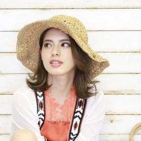 ハット - CELL かぎ針編みツバ広HAT ストローハット ペーパーハット HAT 帽子 小物 雑貨 女優帽 海 プール