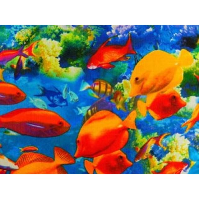 生地 布 輸入 USAコットン ライフズ ア ビーチ 8439-99 コーラルリーフ 珊瑚礁 熱帯魚 カンヴァス ベナーテックス