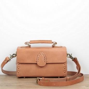 本革 手縫いクラシック学生鞄風2wayショルダーバッグ