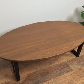【Creema限定 送料無料】杉の無垢材を使ったローテーブル 70x130cm オーバル・楕円形 チーク色