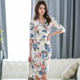 Vネックドレス 花柄 スプリットタイトスカート エレガレントなOL風コーデ