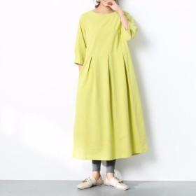 (再販×21)16色展開 一枚で着られる♪ コットンリネン ウェストタックワンピース ♪オーダーサイズ可