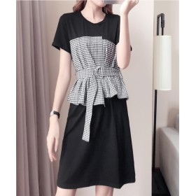 [55555SHOP]2018新品 大人気 ビックサイズのレディースファッション 切り替ワンピース スリム効果のワンピース 韓国が流行します