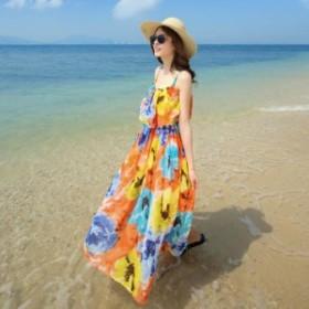 水彩プリントキャミワンピース リゾートワンピース ビーチドレス 0941