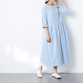 (再販×6)16色展開 一枚で着られる♪ コットンリネン ウェストタックワンピース ♪オーダーサイズ可