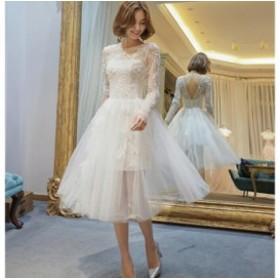 エレガントレースミディアムドレス 演奏会 結婚式ドレス ウェディングドレス パーティドレス お呼ばれ ピアノ 発表会 フォーマルドレス