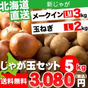 今季出荷開始! 新じゃがいも 北海道産 北海道産 じゃが玉セット メークイン 3kg(LMサイズ)&玉ねぎ2kg(Lサイズ) 合計5kg / 5キロ 5