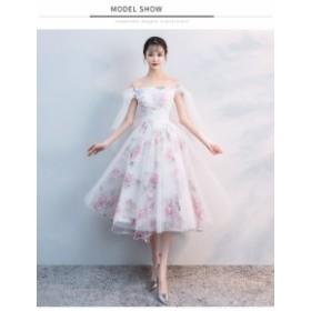 花柄 不規則 ミディアムドレス 演奏会 結婚式ドレス ウェディングドレス パーティドレス お呼ばれ ピアノ 発表会 フォーマルドレス