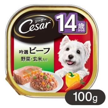 シーザー 14歳からの ビーフ野菜・玄米入り 100g 【シ―ザ―(Cesar)/ドッグフード/ウェットフード】