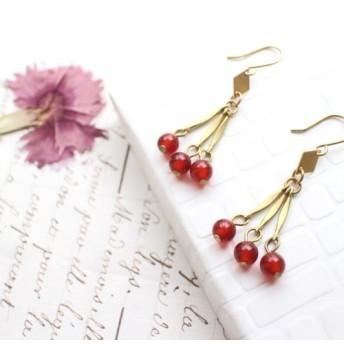 フルーツレッド - 赤い瑪瑙真鍮のイヤリング - 変更することができます